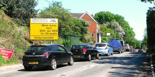 Road works at Totmonslow on Draycott Road